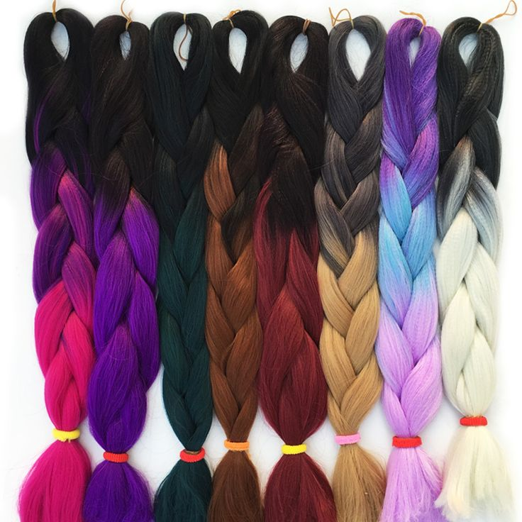 FALEMEI 100g/pack 24inch kanekalon braiding hair ombre two tone colored jumbo braids hair synthetic hair for dolls crochet hair