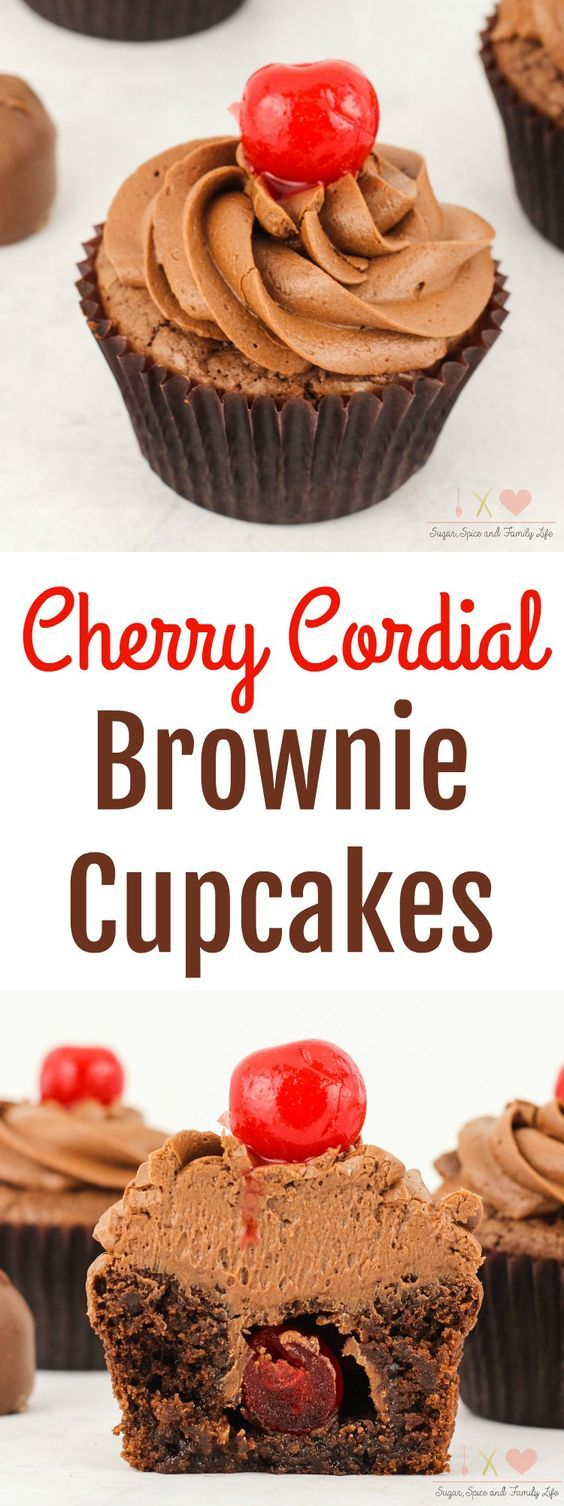 Cherry Cordial Brownie Cupcakes are a delicious chocolate cherry dessert. Each chocolate brownie cupcake is stuffed with a cherry cordial. Then covered with chocolate frosting and a maraschino cherry on top. Anyone who enjoys chocolate covered cherries will love this cherry brownie dessert. - Cherry Cordial Brownie Cupcakes Recipe from Sugar, Spice and Family Life #cherry #chocolate #brownies #cupcakes #chocolatefrosting #cherrycordial #chocolatecoveredcherries #dessert #recipe