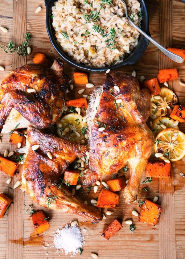 Butterflied marinaded chicken with pumpkin, pine nuts and farro risotto.