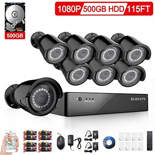 Cheap ELECCTV Security Camera System 8 Channel 1080H AHD Home Video Surveillance Equipment DVR Recorder 500G Hard Drive with 8 HD 1080P Bullet Cameras