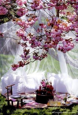 a ver si me explico....los cojines y la mosquitera pero en mi cuarto, con la tarima flotante alrededor, 278466 cojines, y flores, si son de mentira, al menos que sean de las buenas, me encantara dormir aqui cada noche!