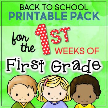 "We all know how important those first few days and weeks can be. I designed this pack with the busy (and exhausted!) First Grade teacher in mind. It contains a good variety of beginning First Grade skills, like phonics work, basic letter and number practice, adding and subtracting, classroom rules, as well as ""getting to know you"" types of activities and icebreakers."