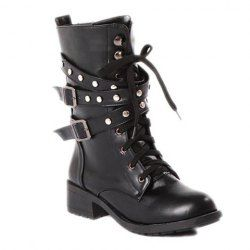 $19.56 Cool Women's Black Studded Combat Boots With Lace-Up Design