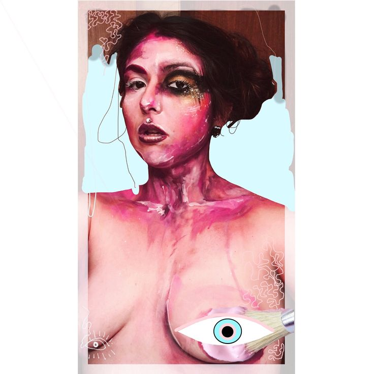 Are you going to tell me that you think my boobs are offensive ?  #feminist#art#portrait#mixedmedia #photography#visualarts#contrasts #nude#statement