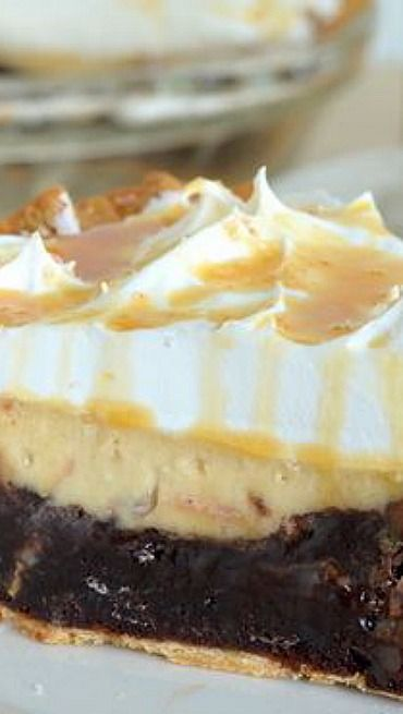 Salted Caramel Brownie Cheesecake Pie | Recipe