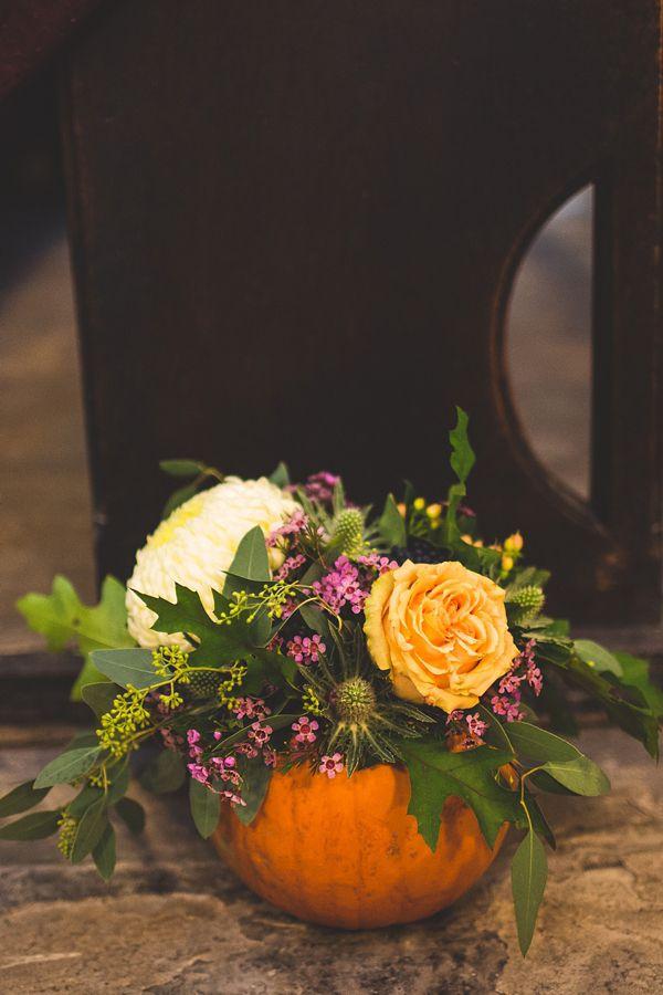 Autumn wedding flower inspiration using a pumpkin. http://www.s6photography.co.uk/