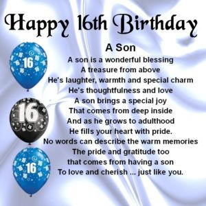 16th birthday images for son : Birthday wishes, messages and quotes for son
