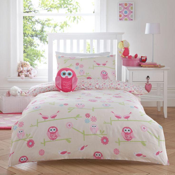 Twit Twoo Owl Pink S Childrens Duvet Quilt Cover Bedding Set