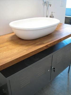 Wooden bench top, metal storage.  IKEA Hackers.