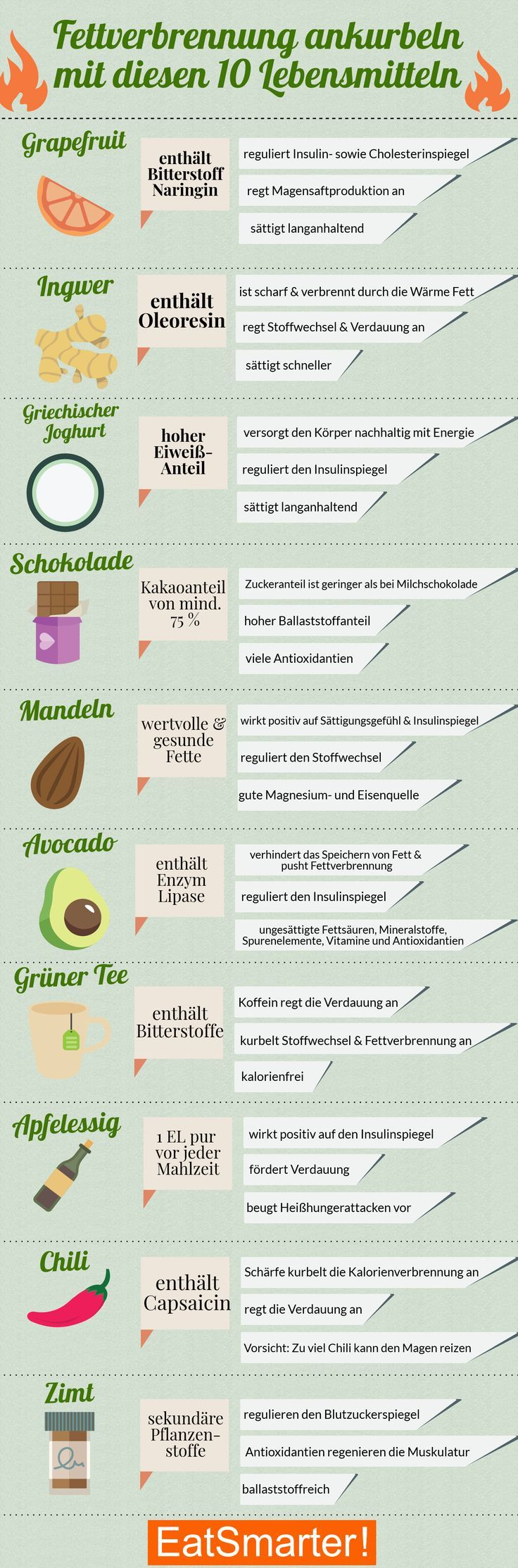 Fettverbrennung ankurbeln: Die Top 10 Lebensmittel – healthy forces – Abnehmen Tipps, Rezepte & Ernährungsplan