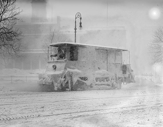 1910 Snow Plow during Blizzard, New York City