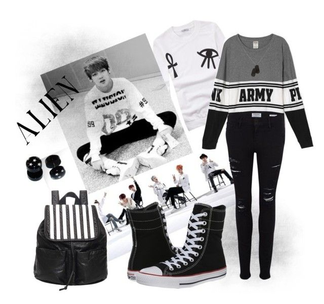 """""""Alien V"""" by vinne on Polyvore featuring Converse, Frame Denim, Banana Republic, blackandwhite, kpop, bts and taehyung"""
