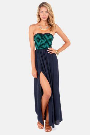O'Neill Baxter Strapless Navy Blue Maxi Dress at LuLus.com!