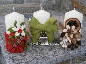 Eccovi le mie creazioni di ieri sera ... dopo alcuni  giorni di meditazione su come decorare tre candele  acquistate già da tempo, avevo per...