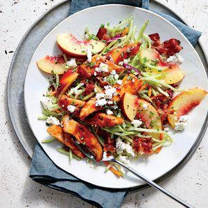 BBQ Chicken with Peach and Feta Slaw | MyRecipes.com