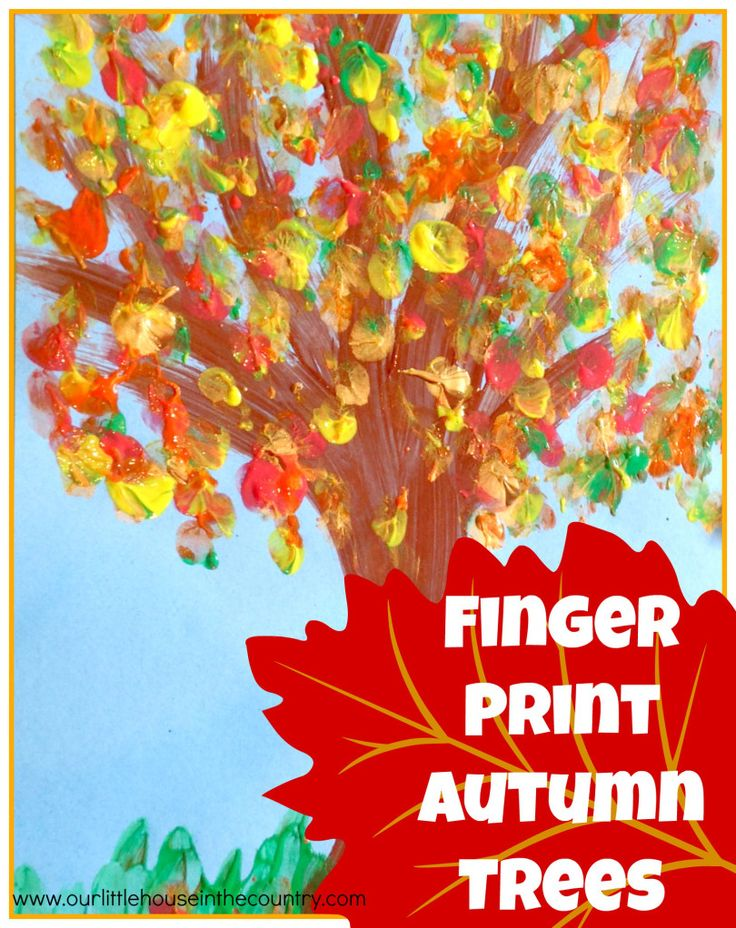 Finger Print Autumn Trees - Fall Art Activities for Kids - Our Little House in the Country