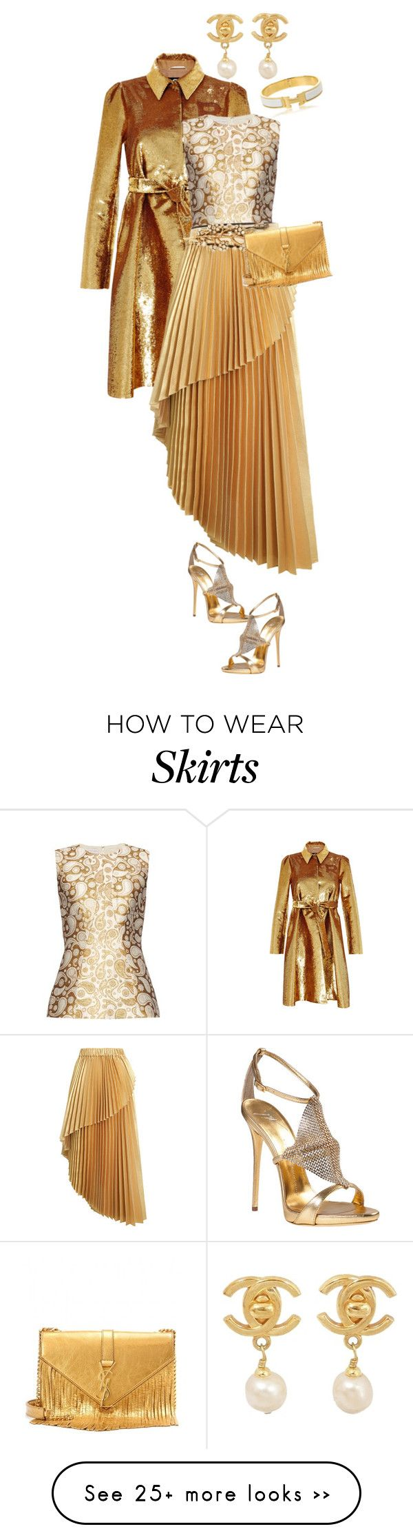 """""""Golden Glamour - Outfit Only Challenge"""" by linolygreen on Polyvore featuring Rochas, STELLA McCARTNEY, Zimmermann, Giuseppe Zanotti, Oscar de la Renta, Yves Saint Laurent, Chanel, Hermès, gold and contestentry"""