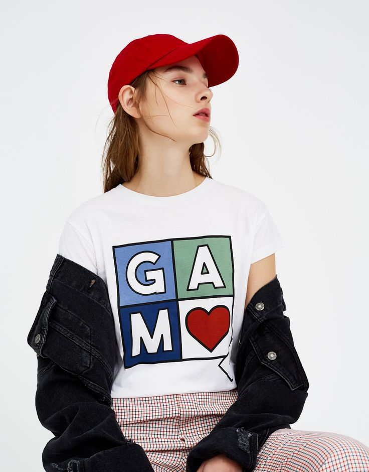 Pull&Bear - γυναικεία - νέα προϊόντα - μπλούζα με στάμπα game - λευκο - 05230339-V2018