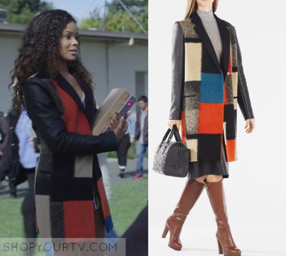 "13 Reasons Why: Season 1 Episode 10 Sheri's Blocked Coat | Sheri Holland (Ajiona Alexus) wears this multi colored knit color blocked coat in this episode of 13 Reasons Why, ""Tape 5, Side B"".  It is the BCBGMAXAZRIA Wayne Faux-Leather Color-Blocked Wool Coat."