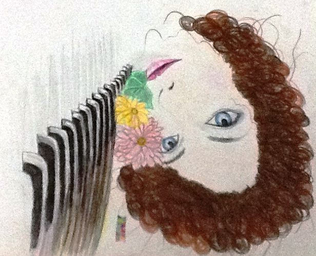 """I found a cool drawing on the net and I thought to draw it myself too. However I changed the sad looking face of the girl in the original drawing with this smiling and calm face of my girl.. Oh, I also changed the hair. The original's hair looks wayy better though. *you can check out the original in """"Images"""" pin"""""""