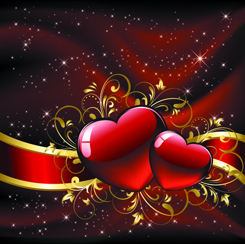 set of luxurious valentine cards vector 01 - Pictures Of Valentines Hearts
