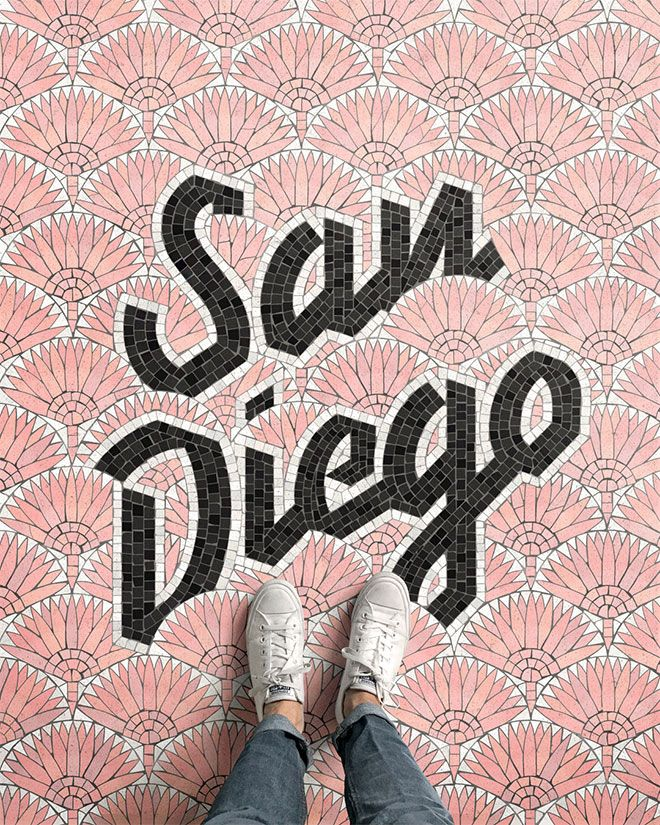 The latest type design trend - fauxsaics. Couldda fooled me... San Diego, CA by Nick Misani