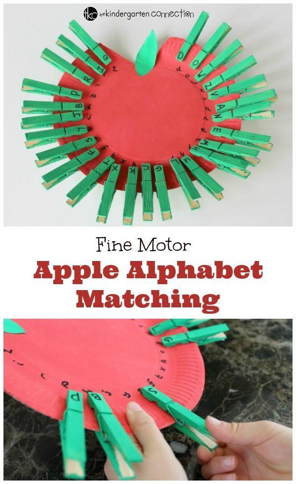 Fine Motor Apple Alphabet Match. Fun ABC activity for an apple unit!