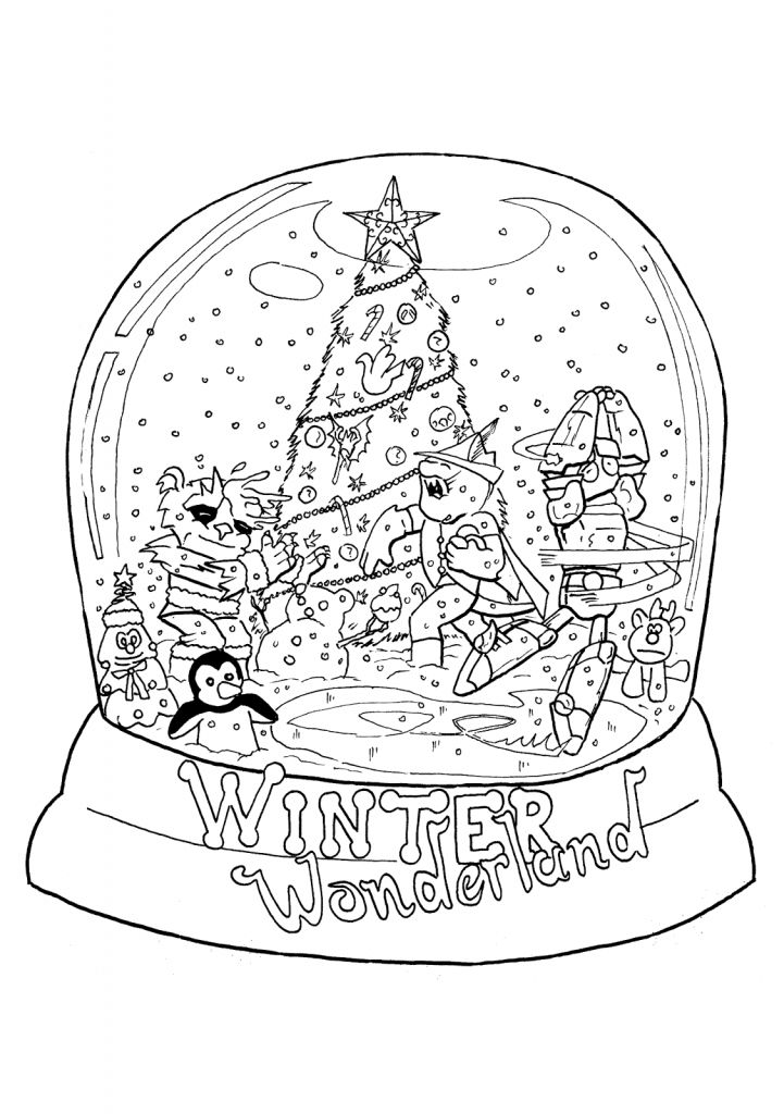 Snowglobe Coloring Pages (With images) Christmas snow