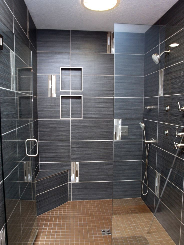 Custom Shower With 12 X 24 Tiles, Great Lines, Contrasting Grout, Light Tile