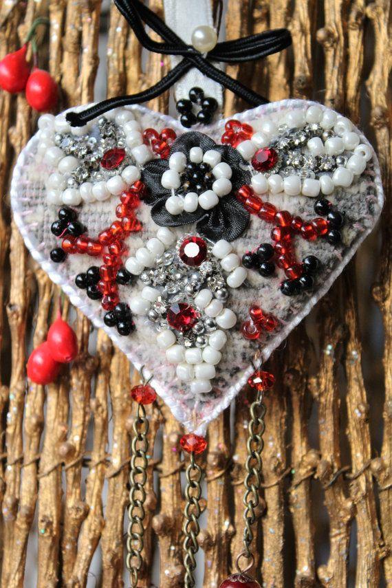 Christmas heart ornament Fabric Heart Christmas by MyFairyHearts