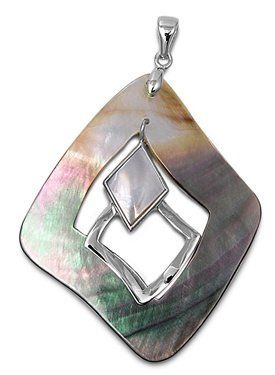 Rhodium Plated Brass and Shell Squares Pendant - Size: 58mm Pendants - Fashion Jewelry. $13.50