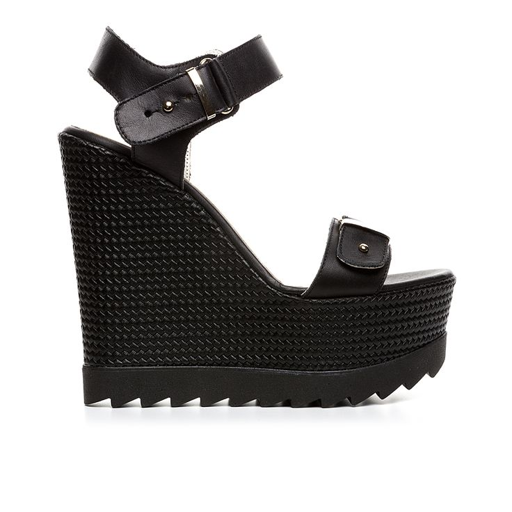 Code: 850G12 Heel height: 13 cm www.mourtzi.com #wedges #black_wedge #musthave