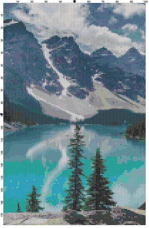 Cross Stitch Pattern Lake Louise Banff by theelegantstitchery, $10.00