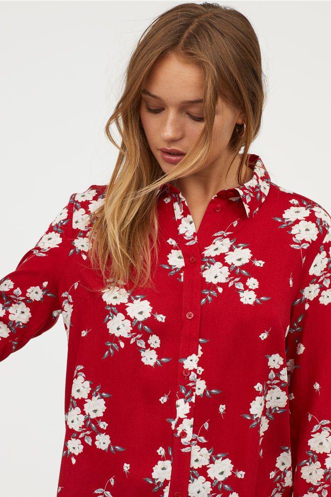051567502de591 Viscose Shirt | Red and White | Cut shirts, Shirts, Floral tops