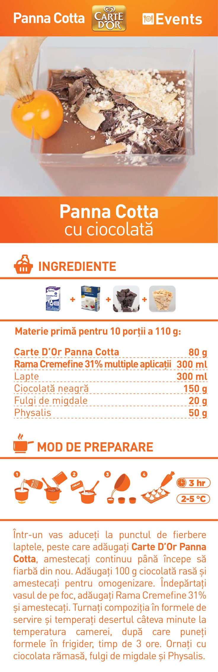 Panna Cotta cu ciocolata - RETETA