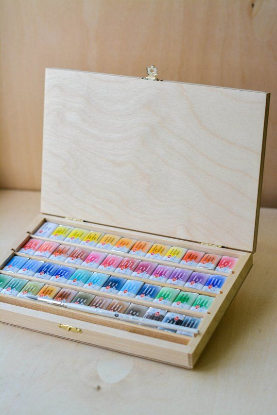 Watercolour Paints White Nights Set Of 48 In Beautiful Wooden