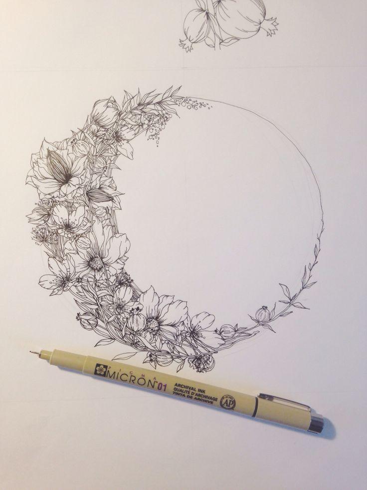 Floral crescent moon illustration by Jenna Rainey of Mon Voir