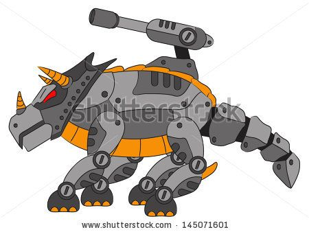 Illustration vector graphic of robotic triceratops for game developer  (ID: 145071601).