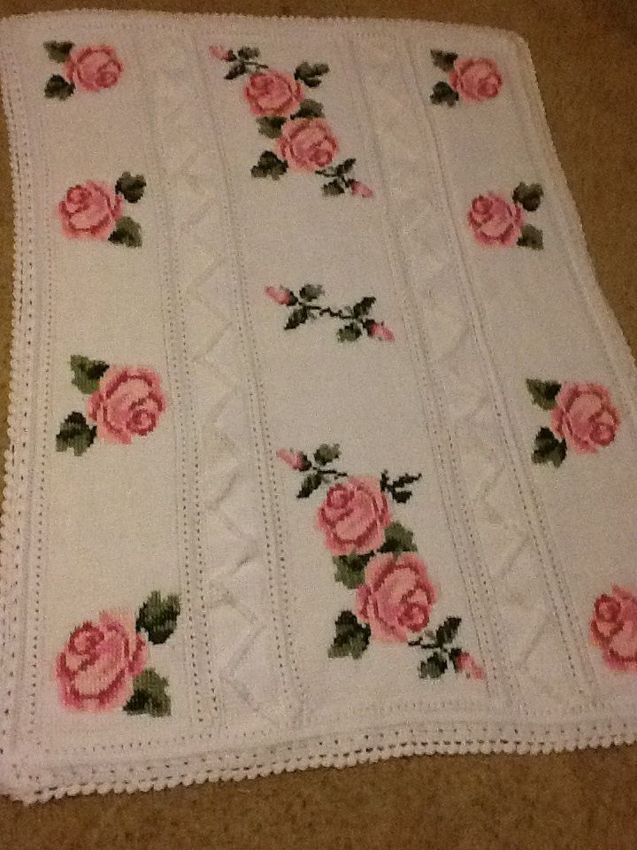 Tunisian crochet, don't remember where I found the rose crosstitch pattern.