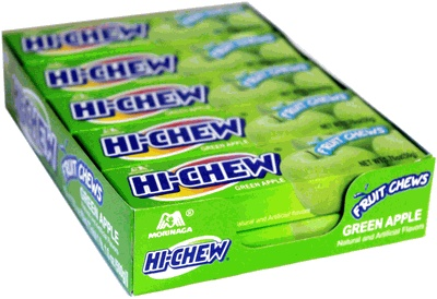 Hi-Chew Fruit Chews - Green Apple   I tried them for the first time in my life this week, and they are goooood!!! it feels like gum but it massages your mouth somehow...lol