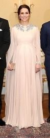 The Duchess of Cambridge chanelled her inner Greek goddess this evening as she stepped out for a glittering gala dinner at the royal palace in Norway.