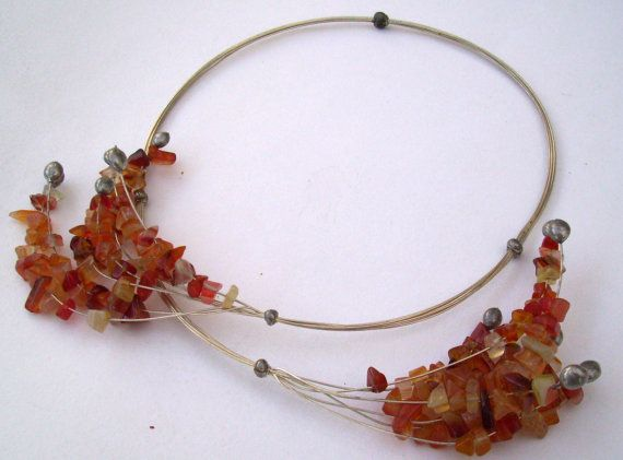 Aventurine Necklace. Red Yellow Orange by JirjiMirjiOneofaKind, €68.30