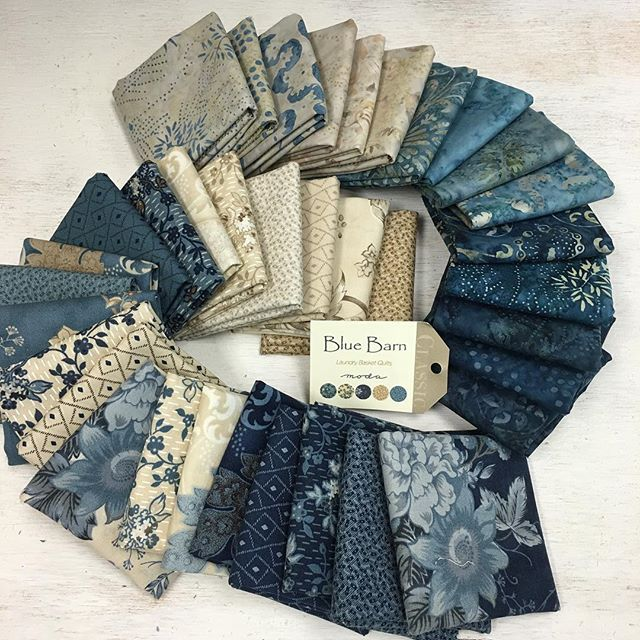 "Now this is the kind of ""blue"" holiday we should all have. Blue Barn Prints and Batiks from Edyta Sitar of Laundry Basket Quilts - @laundrybasketquilts. The fabric is gorgeous and Edyta's Blue Barn quilts are spectacular. Get ready - Blue Barn is in shops this week. #ShowMeTheModa #ModaFabrics"