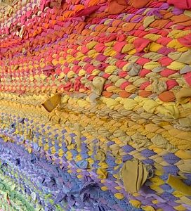 Detail of Springtime rag rug, woven from recycled t shirts and other clothing and linens.