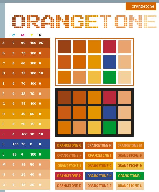Orange tone: Description:  Basically, the Orangetone combines different tones of orange. Adding basic colors like red, blue, and green can create dramatic effect of stimulating and energizing. Meanings:  Warm, stimulating, enticing, energizing  Implications: Revitalized, childlike, playful