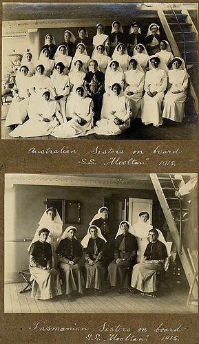 Australian Sisters on board SS Mooltan - Tasmanian Sisters on board, 1915 / photographer A.W. Savage. Army sisters en route to the Third Australian General Hospital at Lemnos. Silver gelatin photographs from the collections of the Mitchell Library, State Library of New South Wales.