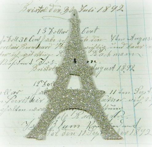 Eiffel Tower German Glass Glittered Ornament