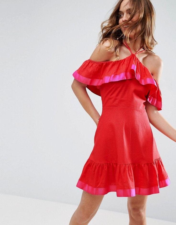 ASOS Grosgrain Trim Cold Shoulder Sundress in Structured Linen - Red
