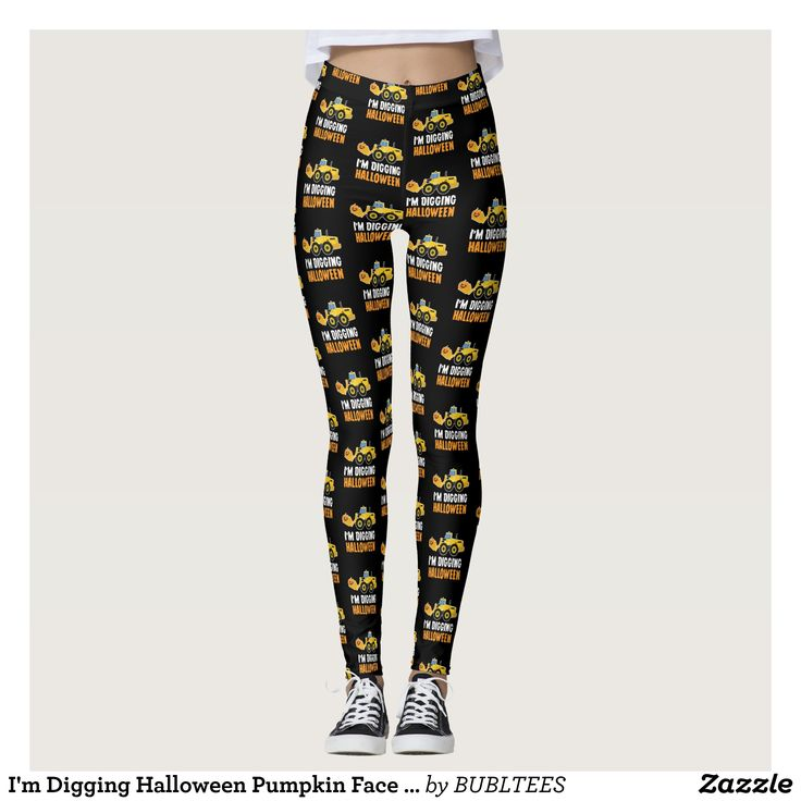 I'm Digging Halloween Pumpkin Face Tractor T Shirt Leggings | Zazzle.com