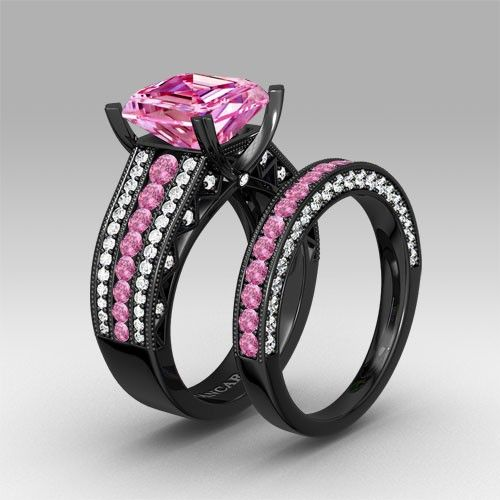 pink and white cubic zirconia asscher cut engagement ring 925 sterling silver black wedding ring set - Black Wedding Ring Sets